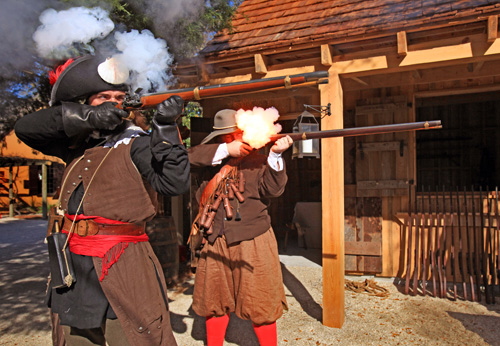 Engage in a musket drill