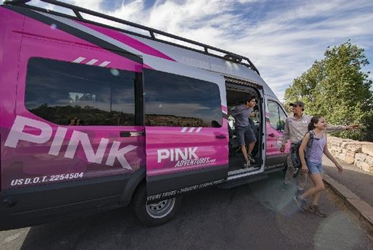 Travel in a roomy, Ford Transit van with large viewing windows - Pink Jeep Tours in Sedona, Arizona