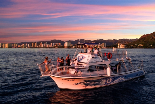 Take in the glow of Diamond head at golden hour and the magic of the Honolulu city lights on the Ocean and You Tour!