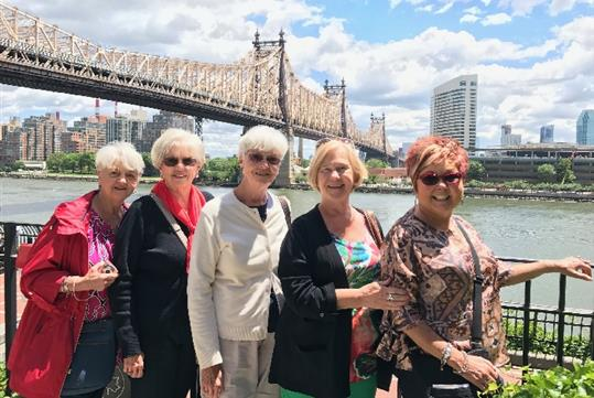 Ladies in front of Queensboro Bridge.