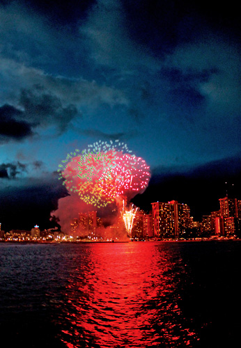 Fireworks above the beautiful Waikiki skyline