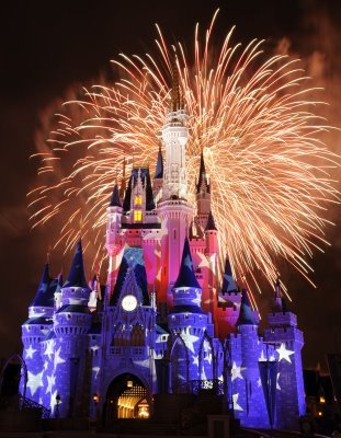Fireworks over Cinderella castle at Disney World 4th of July