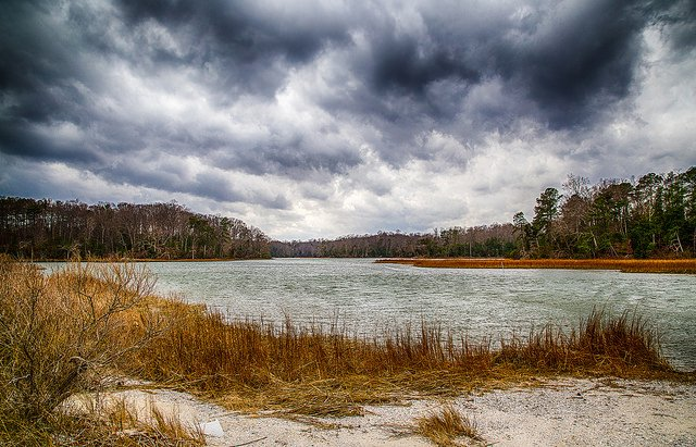 A cloudy sky and river at Colonial Parkway, which is among the free things to do in Williamsburg, VA