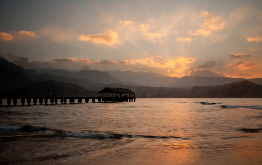 Hanalei Pier at sunset Kauai activities