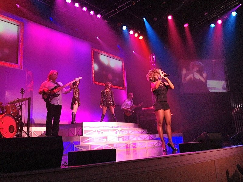 A Tina Turner impersonator at Legends in Concert performs on a purple and pink lit stage in Myrtle Beach