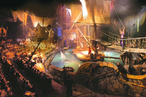 The Pirates Voyage set features a full lagoon, pirate ship, and swinging bridge indoors.