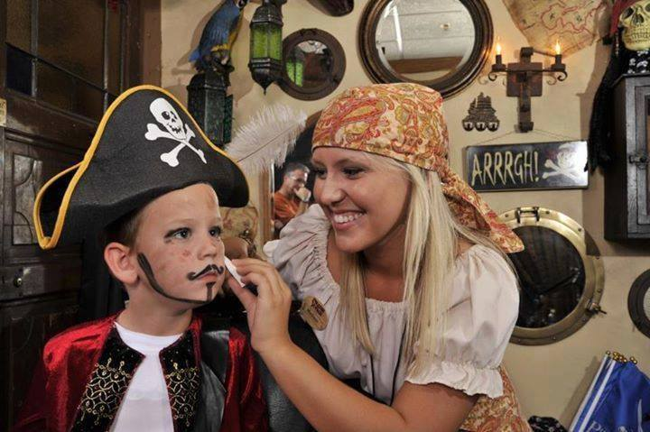 A little boy is transformed into a pirate on his Myrtle Beach Spring Break at Pirates Voyage