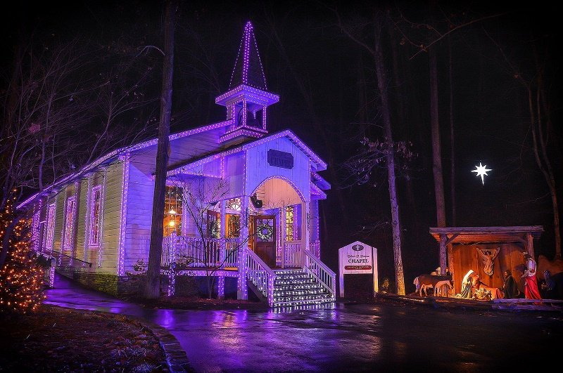 The Dollywood Chapel lit up with Christmas lights for the holiday season.