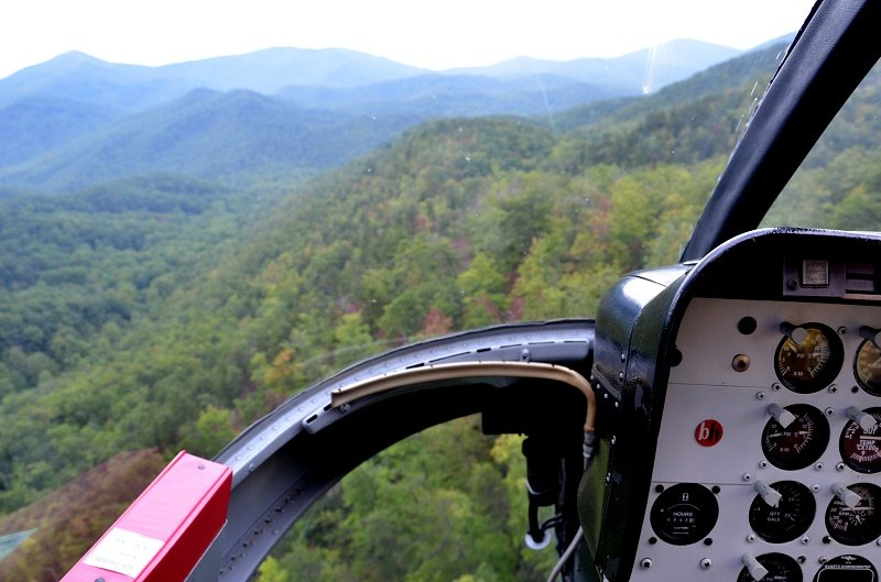 A view of the Smoky Mountains from inside a helicopter