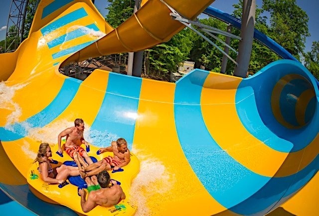 Water Country USA's newest family-thrill attraction Colossal Curl™ is sure to whet the appetite of thrill seekers of all ages. This high-adrenaline, action-packed water slide is the only attraction in North America to feature a 42-foot funnel feature and 40-foot wave element on one slide. Virginia's largest water park, Water Country USA®, is the perfect destination for the entire family with a retro-surf theme, 18 attractions featuring 42 water slides, refreshing pools, lazy rivers and kid-friendly play areas. ©2016 SeaWorld Parks & Entertainment, Inc. All Rights Reserved.