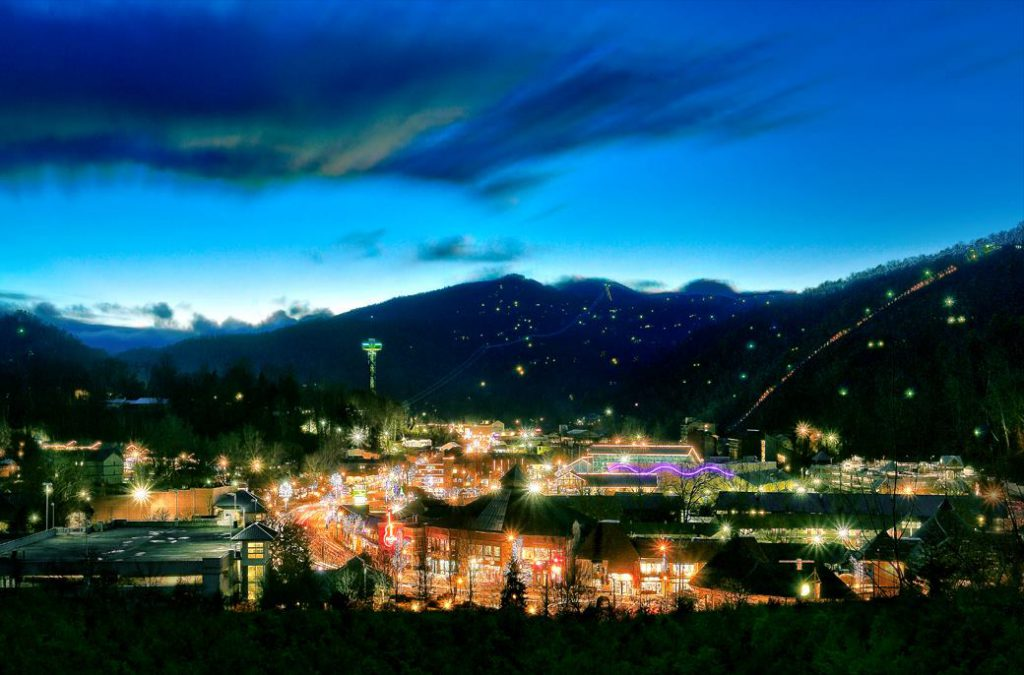Downtown Gatlinburg lit up at night