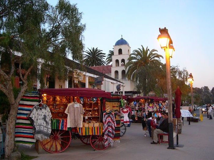 An outdoor marketplace at Old Town San Diego