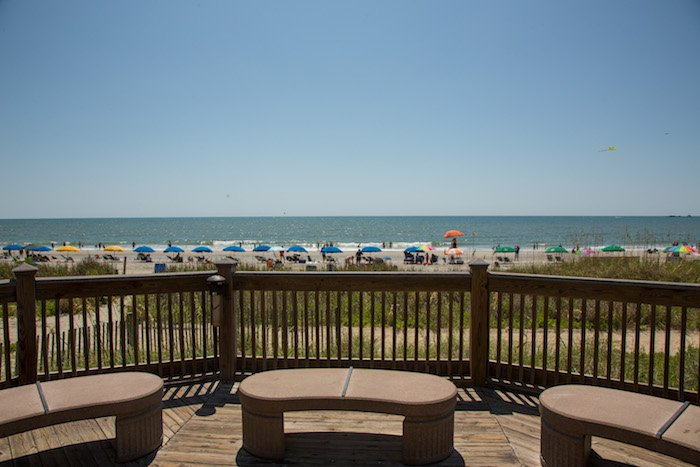 A view of the Atlantic Ocean and beach from the Myrtle Beach boardwalk