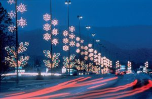 Snowflake lights line the Smoky Mountain Roads