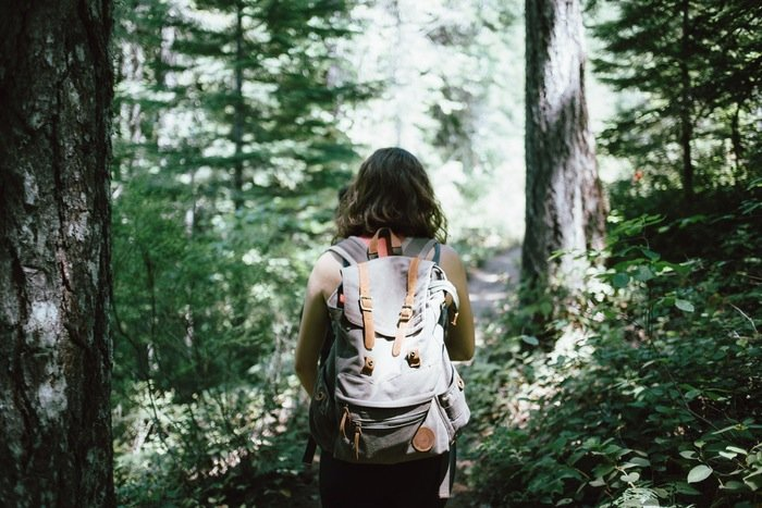A woman hiking in a dense California forest carrying a gray backpack.