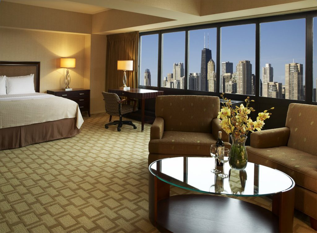 Consider a room at the Holiday Inn Mart Plaza when looking for where to stay in Chicago on a budget.