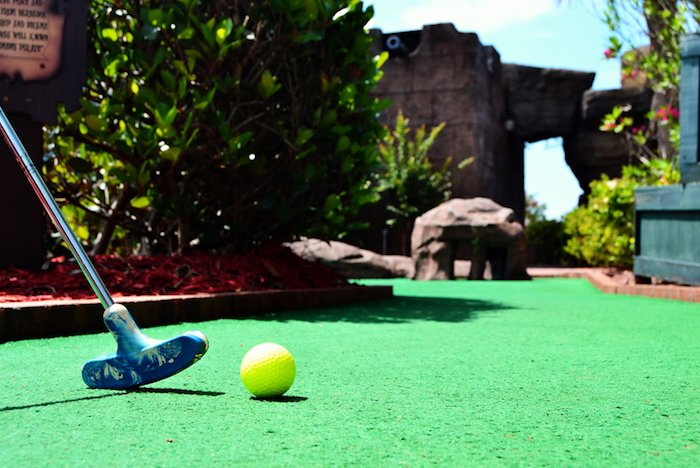 The whole family can enjoy a nighttime round of mini golf in Myrtle Beach.