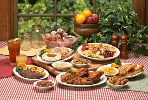 A Thanksgiving spread at the Applewood Farmhouse which includes Southern staples like fried chicken