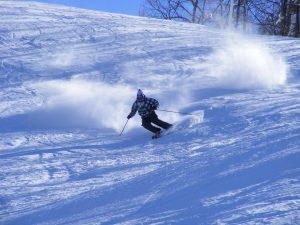 Man skis down Ober Gatlinburg slopes during Thanksgiving