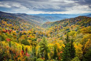 A sweeping view of the Smoky Mountains with orange, yellow, green, and red fall foliage