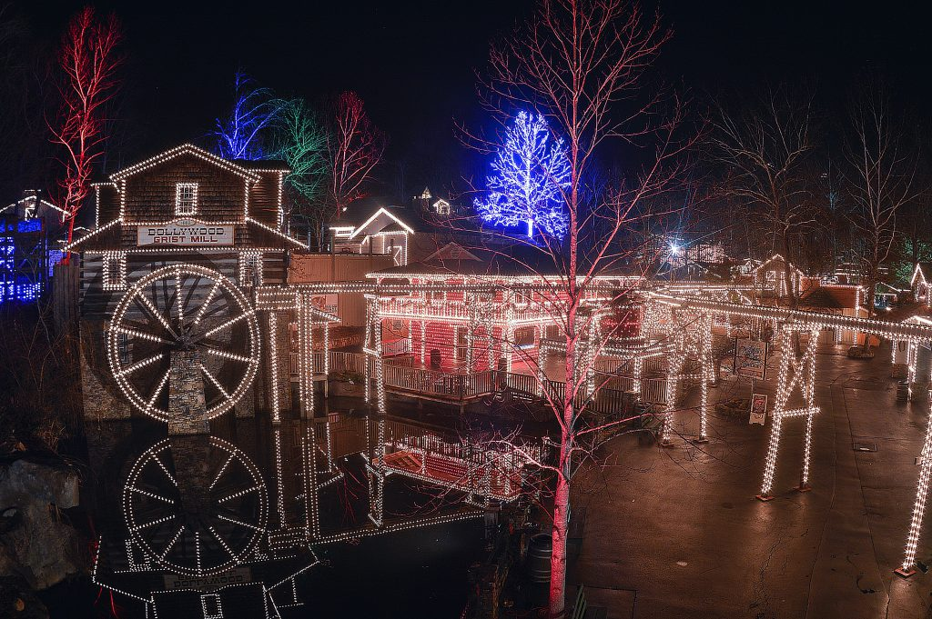 Dollywood adorned in Christmas lights
