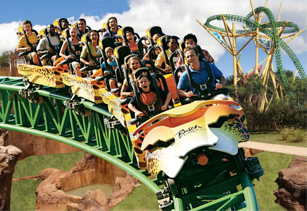 Passengers ride the Cheetah rollercoaster at Busch Gardens Tampa