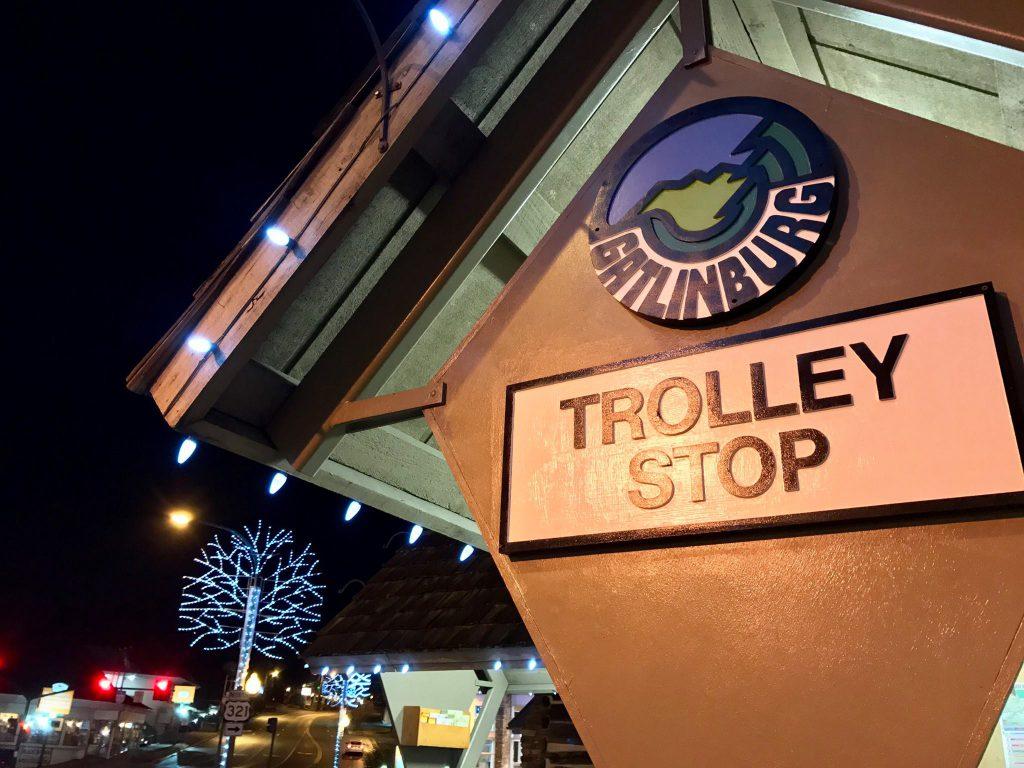 Gatlinburg Winterfest Trolley Tour stop sign