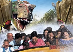 People ride the Jurassic Park ride at Universal Hollywood as part of their Los Angeles Family Vacation Itinerary