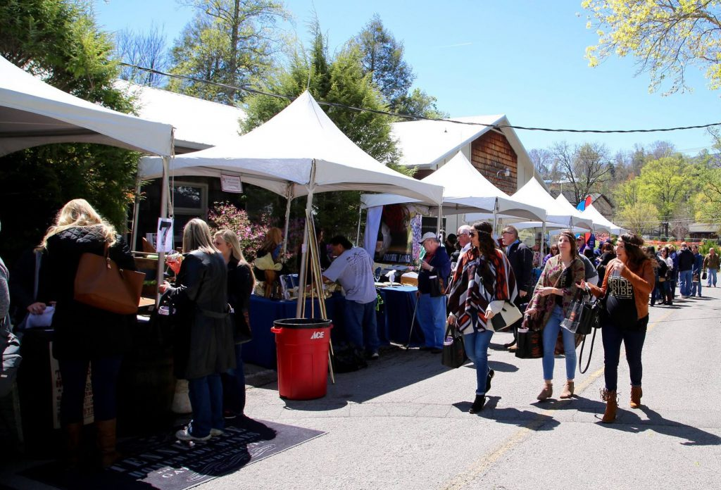 Visitors take advantage of an outdoor festival in Gatlinburg in the Spring