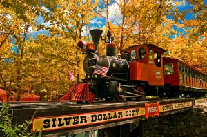 Silver Dollar City train in the fall. Things to Do in Branson for adults.