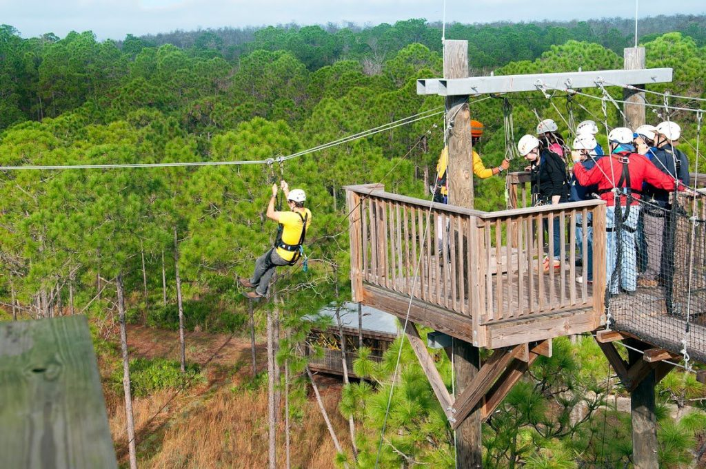 Group of tourists ziplining over the Orlando treetops.
