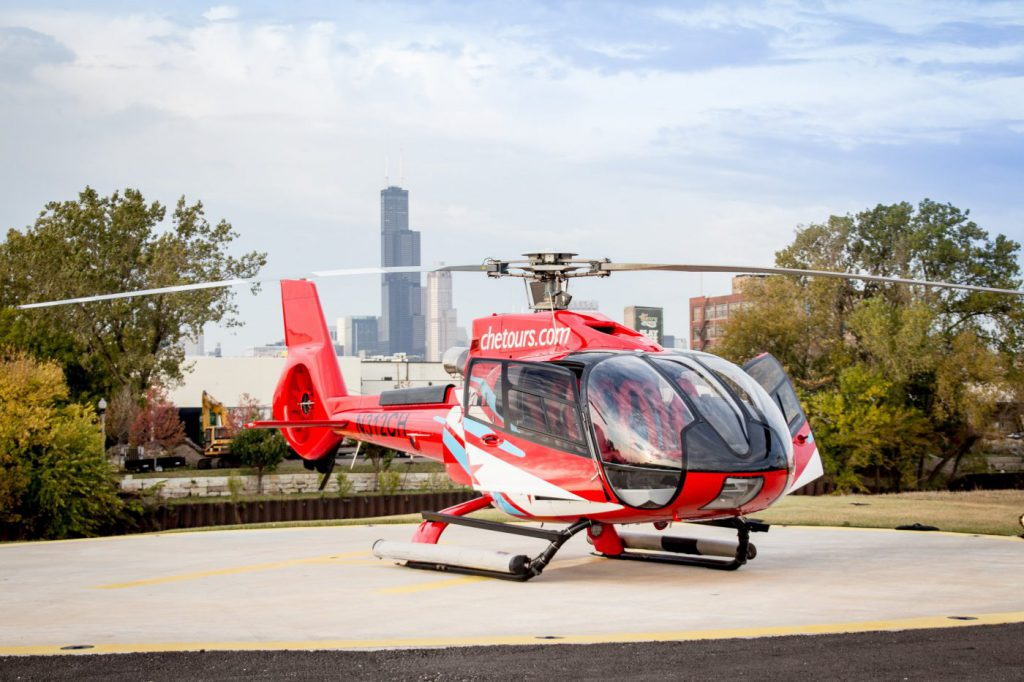 Go on a helicopter tour of Chicago.
