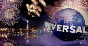 Fireworks over the Universal Orlando Globe during 4th of July in Orlando