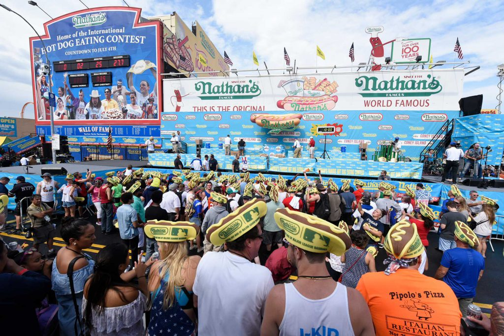 Crowd waiting for the Nathan's Famous Hot Dog Eating Contest on Coney Island
