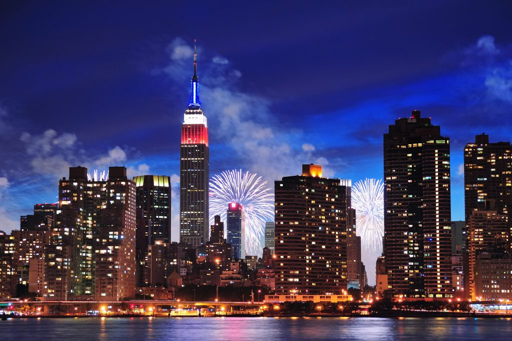 NYC 4th of July fireworks with the NYC skyline and Empire State Building