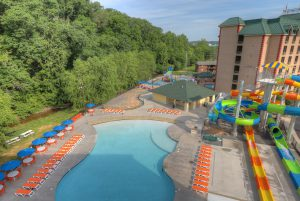 Outdoor pool and waterpark at Country Cascades Waterpark Resort in Gatlinburg, TN