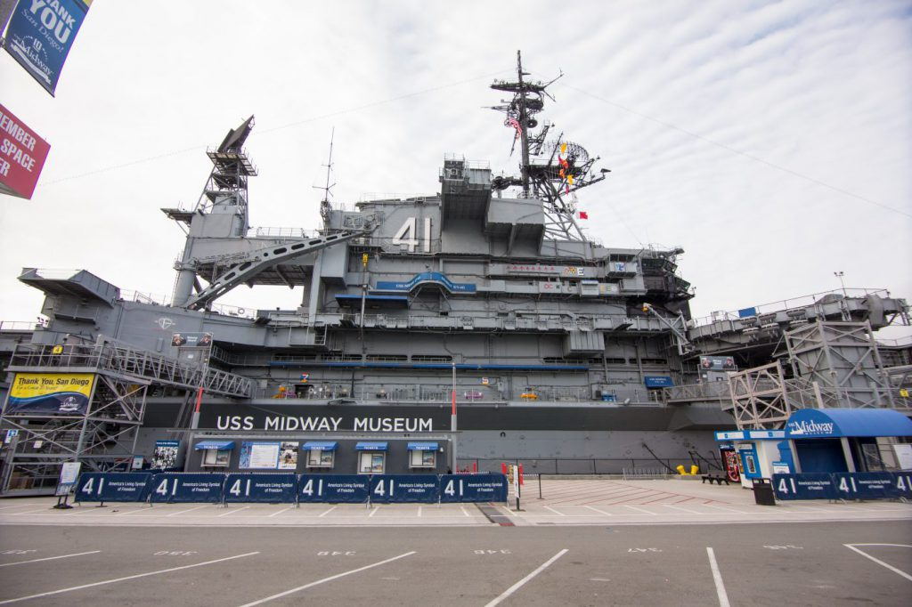 The exterior of the USS Midway Museum in San Diego, CA