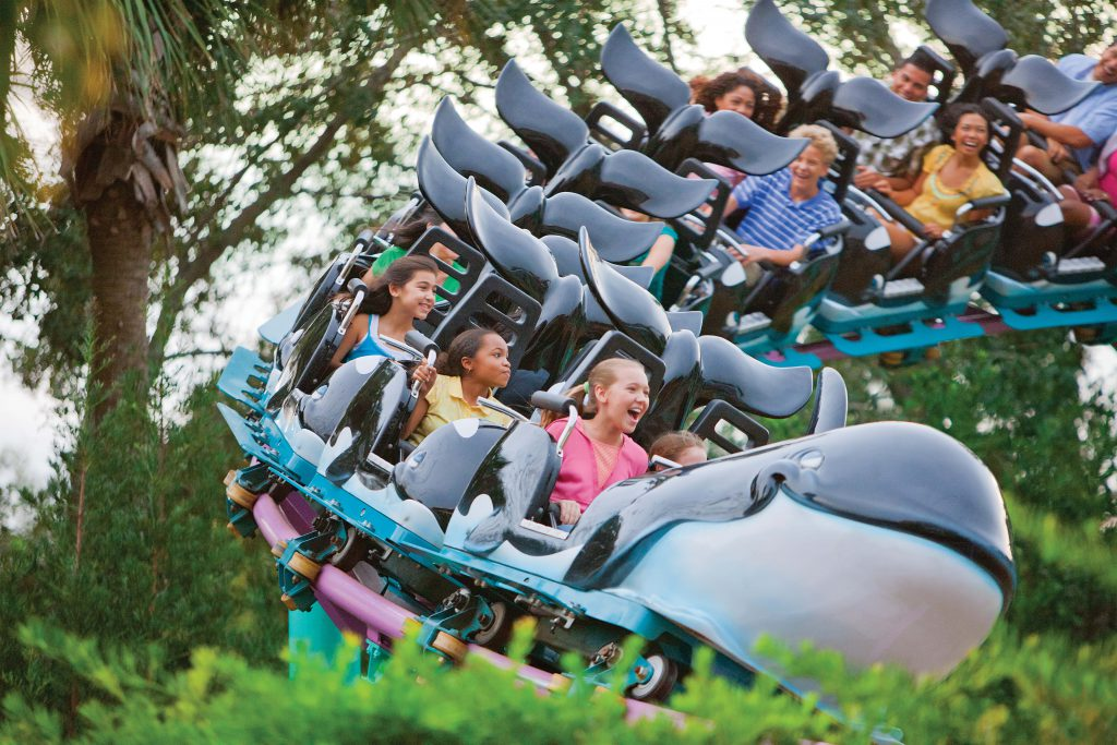 Families ride the Shamu Express with their kids