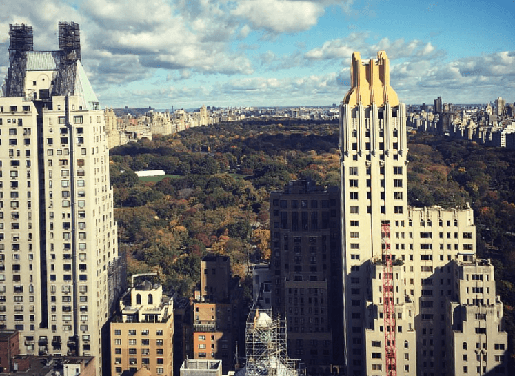 Central Park view from the Parker Hotel