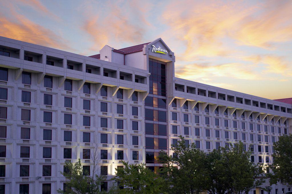 Radisson hotel exterior at dawn
