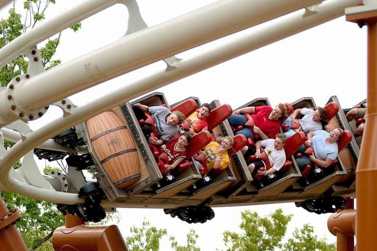 Family rides Powder Keg at Silver Dollar City