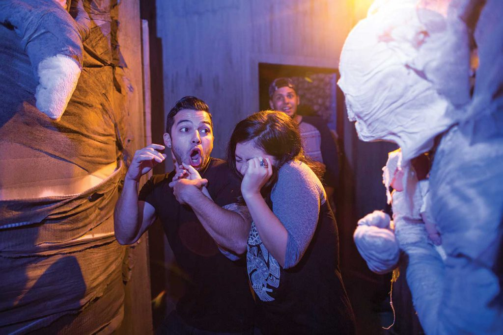 Halloween Horror Nights guests scream in a haunted house