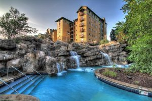 The RiverStone Resort & Spa lazy river and exterior