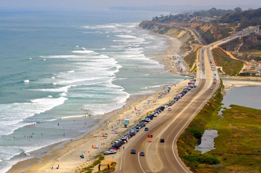 Torrey Pines Beach and the road that leads to it