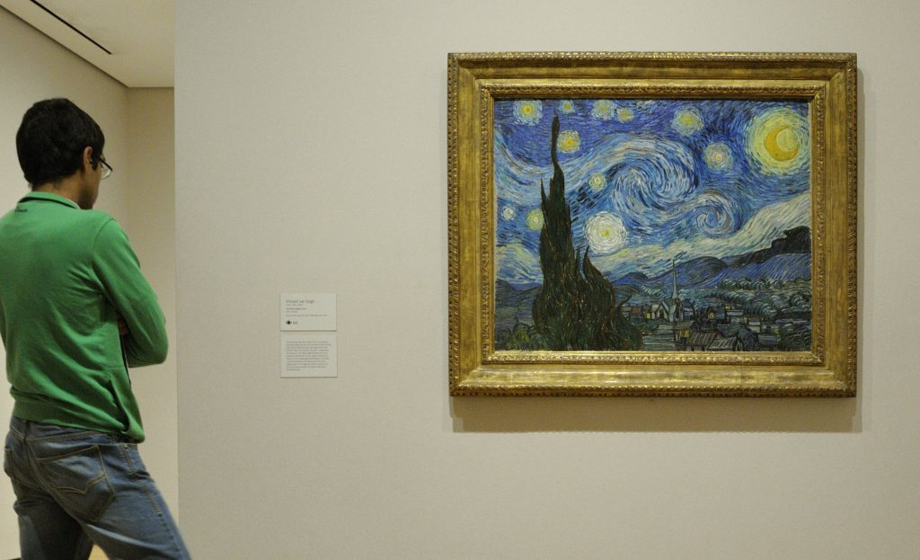 Patrons viewing Starry Night at the MoMA