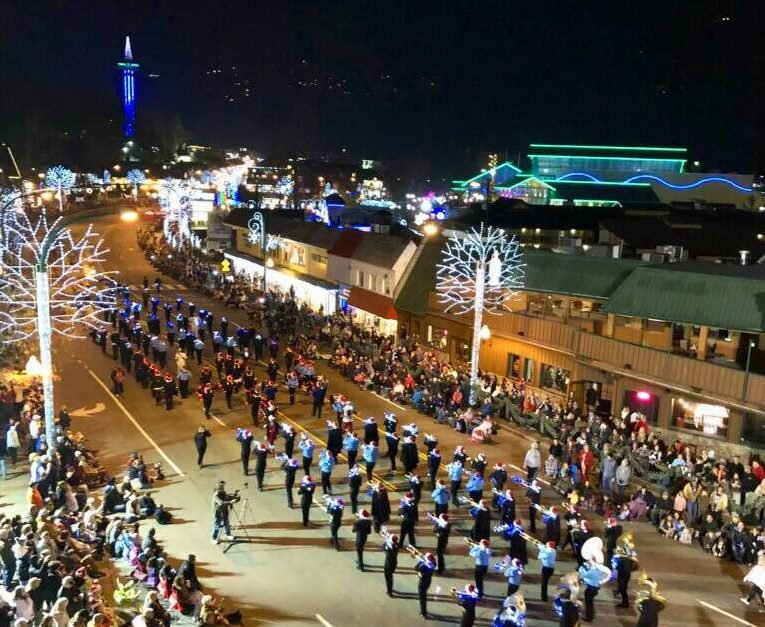 The Gatlinburg Fantasy of Lights Christmas Parade marches through downtown Gatlinburg