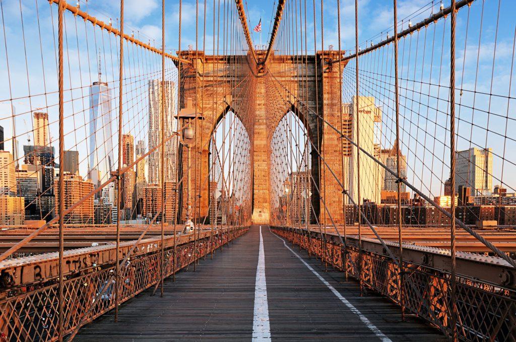 The Brooklyn Bridge at sunrise