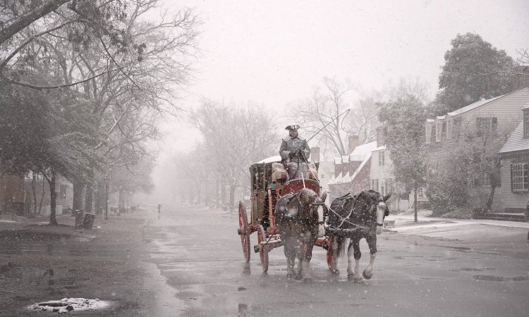 Man driving horse drawn carriage in Williamsburg in the snow