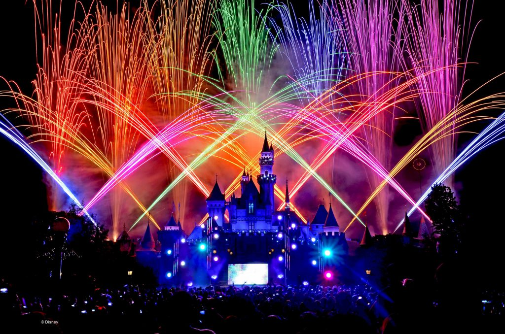 Multi-colored fireworks explode over Sleeping Beauty Castle at Disneyland Park in Anaheim, California on New Year's Eve