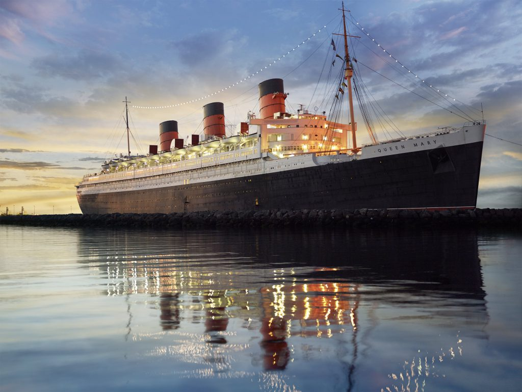 The exterior of the Queen Mary in Los Angeles
